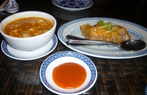 Fish Maw Soup (yuck!) and Chicken with Salted Egg