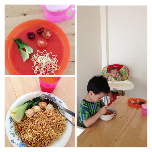 Lunch of the day - bokchoy, cherries, tomatoes and noodles for Xan while E and I had noodles with fishballs and bokchoy