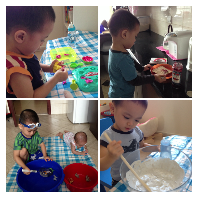 Simple homeschooling activities with E