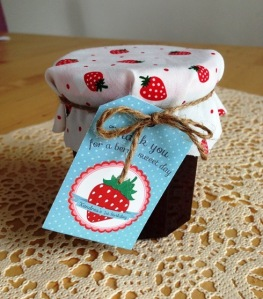Strawberry jam as party favour for each family