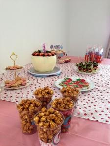 Macarons, popcorn, cookies, fruit kebabs, cupcakes and strawberry lemonade to tempt every tastebud